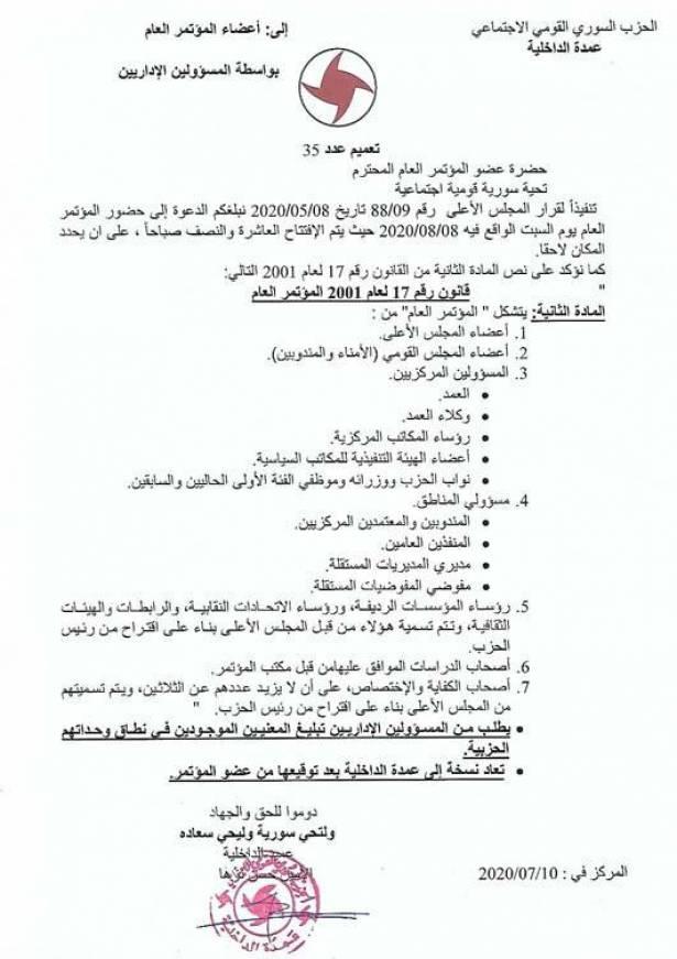 إنـعقاد المؤتـمر العام للحزب القومـي بــيـن مُؤيّـديـه ومُعارضيه !!